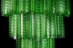 Green Midcentury Murano Glass Tronchi Four Tier Chandelier 1960 - 1445705