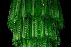Green Midcentury Murano Glass Tronchi Four Tier Chandelier 1960 - 1445708