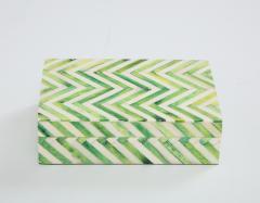 Green Natural Bone Cheveron Box - 1576355
