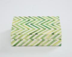 Green Natural Bone Cheveron Box - 1576356