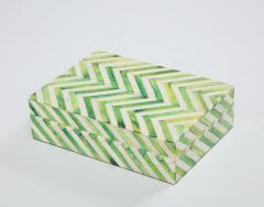 Green Natural Bone Cheveron Box - 1576357