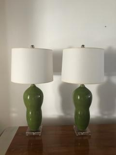 Green ceramic table lamps - 1386789