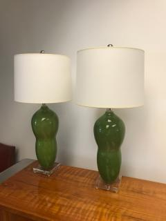 Green ceramic table lamps - 1386792