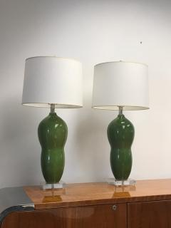 Green ceramic table lamps - 1386793