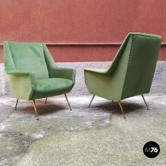 Green velvet armchair 1950s - 1945580