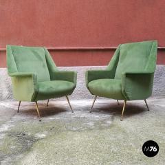 Green velvet armchair 1950s - 1945581