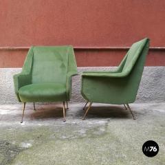 Green velvet armchair 1950s - 1945582