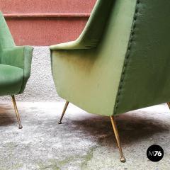 Green velvet armchair 1950s - 1945583