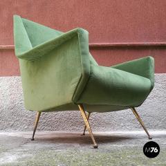 Green velvet armchair 1950s - 1945584