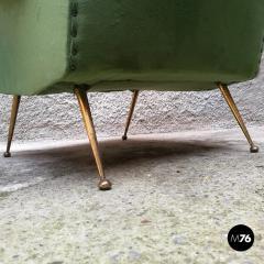 Green velvet armchair 1950s - 1945585