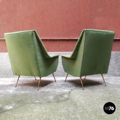 Green velvet armchair 1950s - 1945586