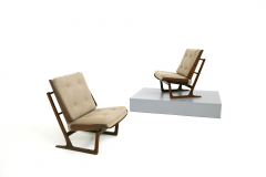 Grete Jalk Pair of Danish Mid Century armchairs by Grete Jalck in teak and cottone 1950 - 1563540