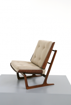 Grete Jalk Pair of Danish Mid Century armchairs by Grete Jalck in teak and cottone 1950 - 1563543
