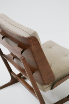 Grete Jalk Pair of Danish Mid Century armchairs by Grete Jalck in teak and cottone 1950 - 1563545