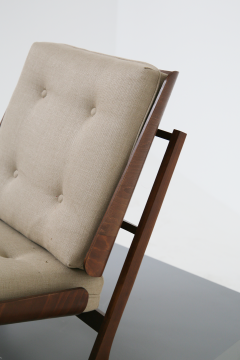 Grete Jalk Pair of Danish Mid Century armchairs by Grete Jalck in teak and cottone 1950 - 1563549