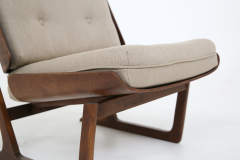 Grete Jalk Pair of Danish Mid Century armchairs by Grete Jalck in teak and cottone 1950 - 1563550