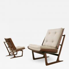 Grete Jalk Pair of Danish Mid Century armchairs by Grete Jalck in teak and cottone 1950 - 1565164