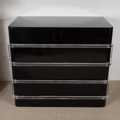 Grosfield House Art Deco Black Lacquer Chest with Lucite Pull - 201736