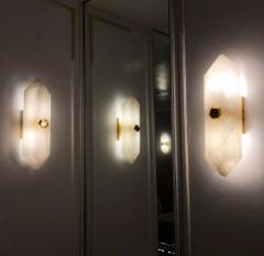 Group of Four Diamond Form Rock Crystal Sconces by Phoenix - 2040761