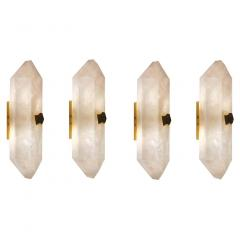 Group of Four Diamond Form Rock Crystal Sconces by Phoenix - 2040767