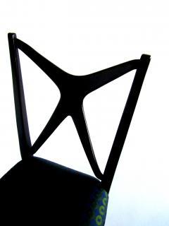 Guglielmo Ulrich A Pair of Italian Modern Black Lacquer X Back Chairs Guglielmo Ulrich - 1340759