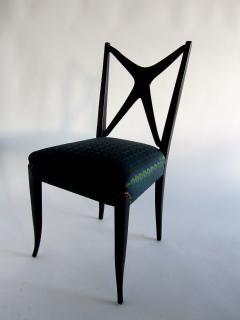 Guglielmo Ulrich A Pair of Italian Modern Black Lacquer X Back Chairs Guglielmo Ulrich - 1340761