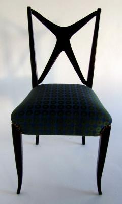 Guglielmo Ulrich A Pair of Italian Modern Black Lacquer X Back Chairs Guglielmo Ulrich - 1340767