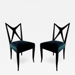 Guglielmo Ulrich A Pair of Italian Modern Black Lacquer X Back Chairs Guglielmo Ulrich - 1341704