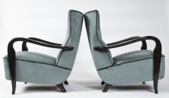 Guglielmo Ulrich Large Pair Of Italian Mid Century Velvet Lounge Chairs by Guglielmo Ulrich - 1654770