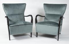 Guglielmo Ulrich Large Pair Of Italian Mid Century Velvet Lounge Chairs by Guglielmo Ulrich - 1654771