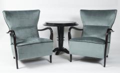 Guglielmo Ulrich Large Pair Of Italian Mid Century Velvet Lounge Chairs by Guglielmo Ulrich - 1654772