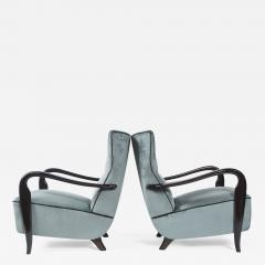 Guglielmo Ulrich Large Pair Of Italian Mid Century Velvet Lounge Chairs by Guglielmo Ulrich - 1656073