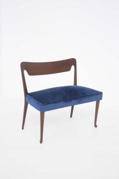 Guglielmo Ulrich Mid Century Velvet and Walnut Wooden Bench with Backrest by Guglielmo Ulrich - 2095598