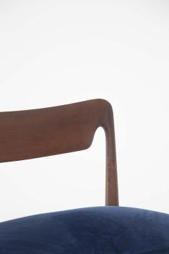 Guglielmo Ulrich Mid Century Velvet and Walnut Wooden Bench with Backrest by Guglielmo Ulrich - 2095599