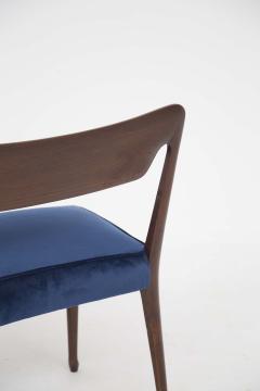 Guglielmo Ulrich Mid Century Velvet and Walnut Wooden Bench with Backrest by Guglielmo Ulrich - 2095600