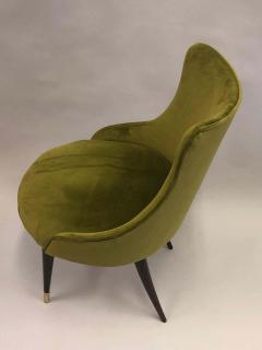 Guglielmo Ulrich Pair of Italian Mid Century Modern Lounge Slipper Chairs by Guglielmo Ulrich - 1736729