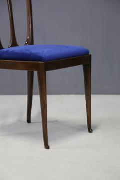 Guglielmo Ulrich Set of eight MidCentury chairs by Gugliemo Ulrich restored in blue velvet 1950s - 1290539