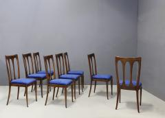 Guglielmo Ulrich Set of eight MidCentury chairs by Gugliemo Ulrich restored in blue velvet 1950s - 1290541