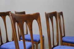 Guglielmo Ulrich Set of eight MidCentury chairs by Gugliemo Ulrich restored in blue velvet 1950s - 1290544
