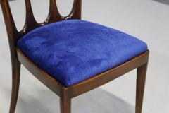 Guglielmo Ulrich Set of eight MidCentury chairs by Gugliemo Ulrich restored in blue velvet 1950s - 1290545
