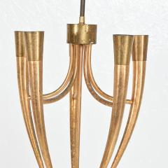 Guglielmo Ulrich Two Tone Bronze Italian Chandelier 5 Light Pendant Guglielmo Ulrich 1950s - 1818966
