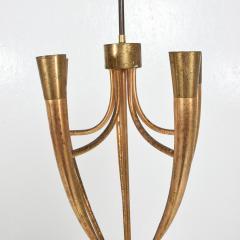 Guglielmo Ulrich Two Tone Bronze Italian Chandelier 5 Light Pendant Guglielmo Ulrich 1950s - 1818967