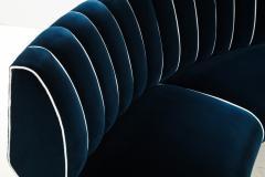 Guglielmo Veronesi Curved Channel Back Navy Velvet Sofa - 1833033