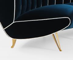 Guglielmo Veronesi Curved Channel Back Navy Velvet Sofa - 1833037
