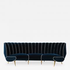 Guglielmo Veronesi Curved Channel Back Navy Velvet Sofa - 1834375