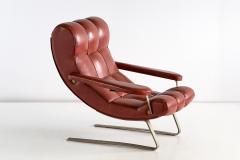 Guido Bonzani Guido Bonzani Lounge Chair in Brown Leatherette for Tecnosalotto Italy 1970s - 1095630