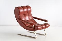Guido Bonzani Guido Bonzani Lounge Chair in Brown Leatherette for Tecnosalotto Italy 1970s - 1095632