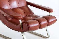 Guido Bonzani Guido Bonzani Lounge Chair in Brown Leatherette for Tecnosalotto Italy 1970s - 1095635