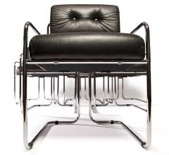 Guido Faleschini Set of 12 Pace Faleschini Leather and Chrome Tucroma Chairs - 432636