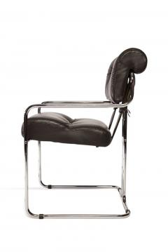 Guido Faleschini Set of 12 Pace Faleschini Leather and Chrome Tucroma Chairs - 432640